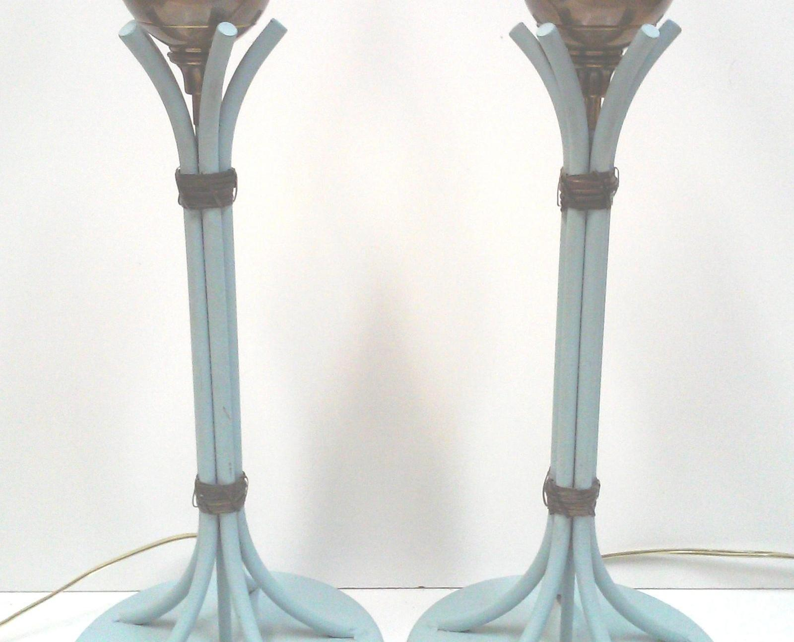Mid-Century Blue Iron and Brass Sheaf of Wheat Lamps-A Pair