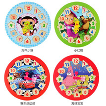 Wooden 12 Number Baby Colorful Puzzle Digital Geometry Clock Educational... - $17.18