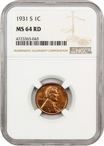 1931-S 1c NGC MS64 RD - Popular Key Date - Lincoln Cent - Popular Key Date - $281.30