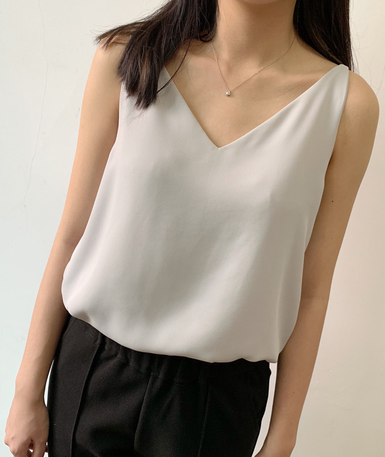 White Chiffon Top V-neck Bridesmaid Tank Tops Summer Women Chiffon Tank US0-US8