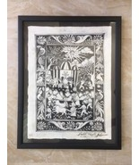 Vintage Mexico Colony Catholic Black Ink Hand Drawing Papyrus Print w/ F... - $93.14