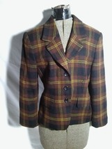 10 Jones New York Worsted Wool Button Up Jacket Blazer Black Brown Plaid... - $22.70