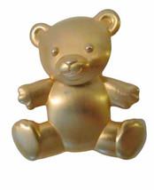 Vintage JJ Jonette  Articulated Moving Head Matte Gold Teddy Bear Pin Br... - $16.99