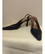 Donald J Pliner Black Slingback MOSIS Leather Heels Size 6.5 Pointed Toe - $19.95