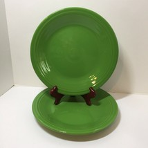 "2 Dinner Plates Shamrock Green Homer Laughlin Fiesta Lead Free 10.5"" - $16.44"