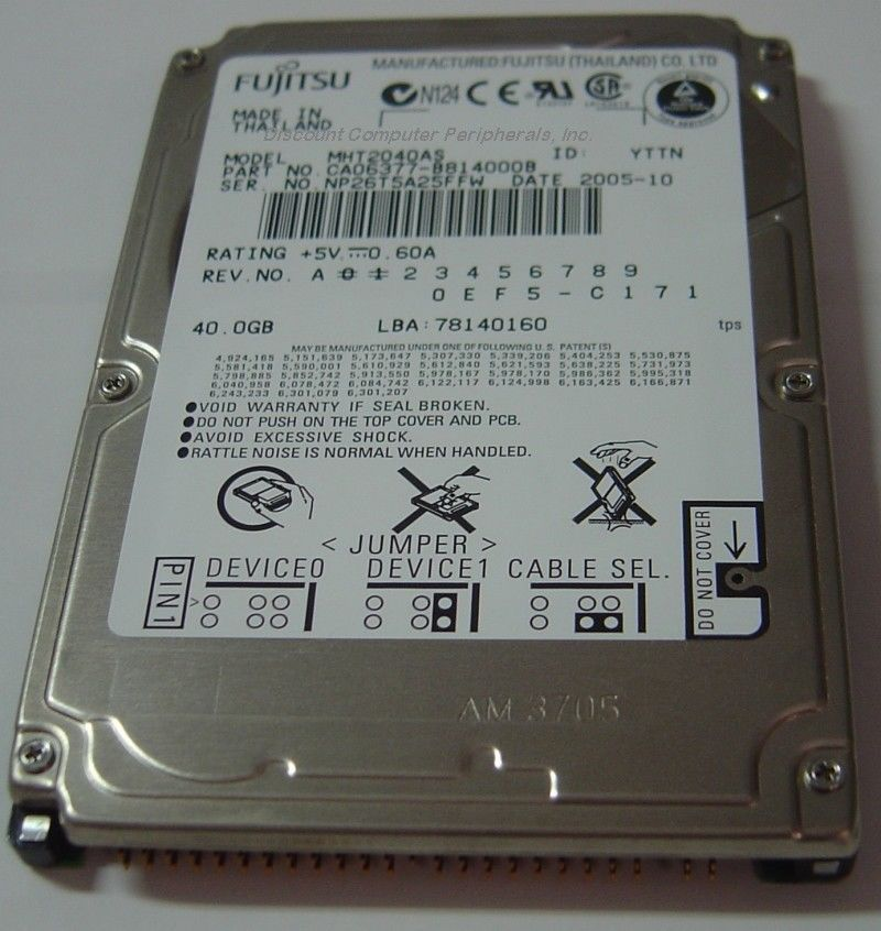 "NEW MHT2040AS Fujitsu 40GB 2.5"" IDE Hard Drive Free USA Shipping Our Drives Work"