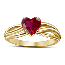 14k Yellow Gold Finish 925 Solid Silver Heart Shape Red Garnet Engagement Ring - £47.59 GBP