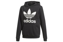 Adidas Kid's Unisex Originals Trefoil Hoodie Black-White CD6499 - $28.24