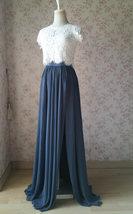 DUSTY BLUE Split Maxi Skirt Dusty Blue Bridesmaid Maxi Chiffon Skirt image 3