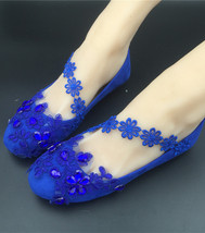 royal blue flat sparkly shoes.blue dressy flats shoes,navy blue wedding shoes - $38.00