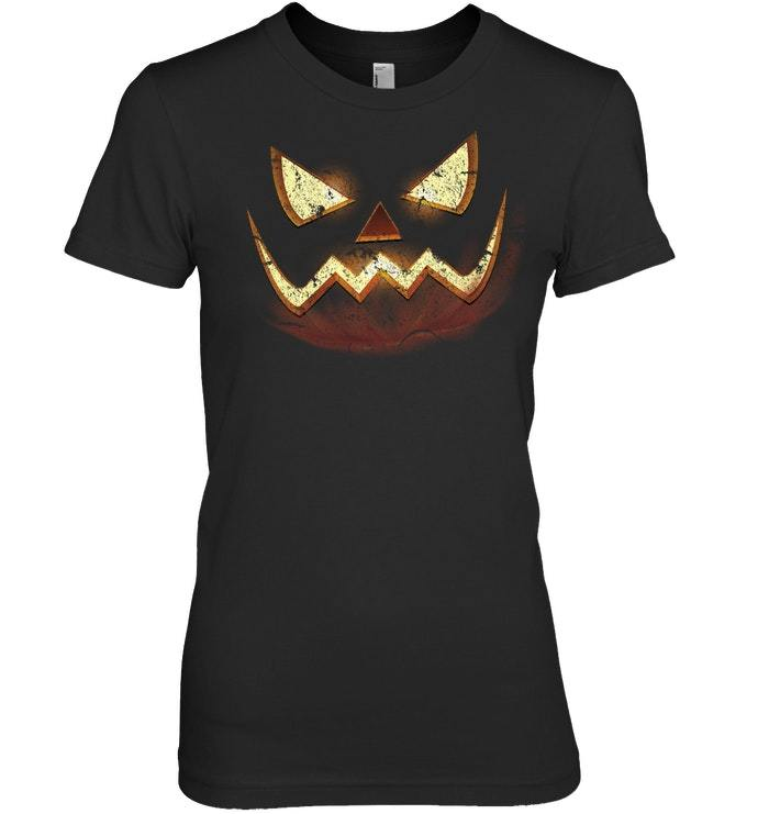 Funny Halloween Tshirt Scary Carved Pumpkin Distressed