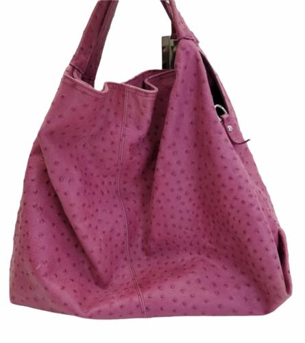 Furla Fuschia Pink Ostrich Embossed Leather Elisabeth Tote Shoulder Bag Purse