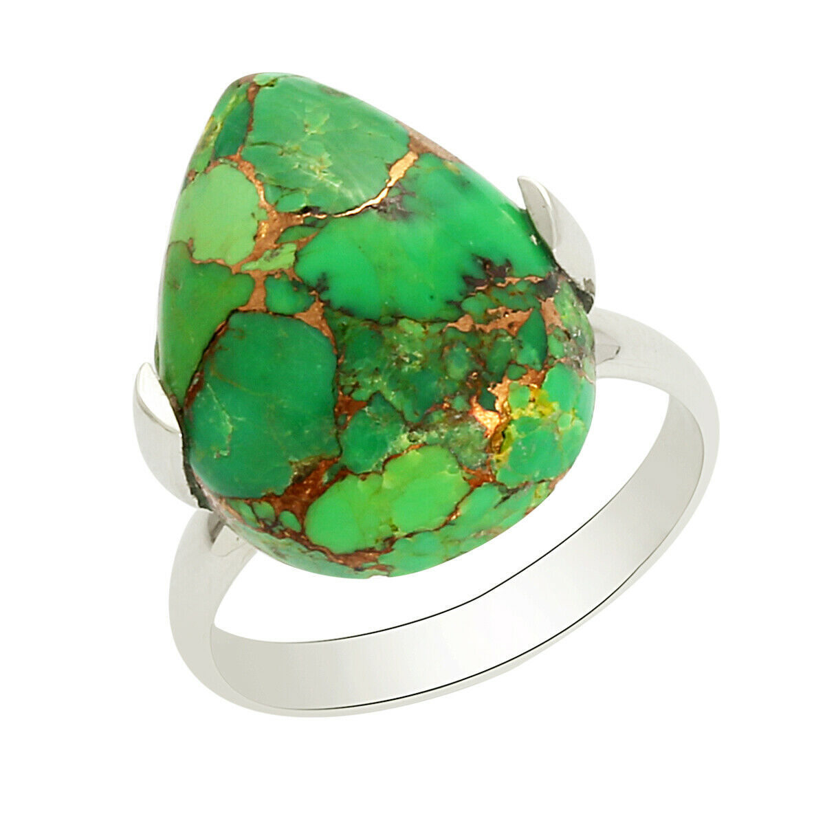 Primary image for 925 Sterling Silver 20.50 Ct Green Turquoise Gemstone Women HANDCRAFTED Ring