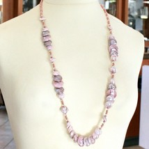 Necklace Antica Murrina Venezia with Murano Glass Beige Pink Coin CO958A03 image 1
