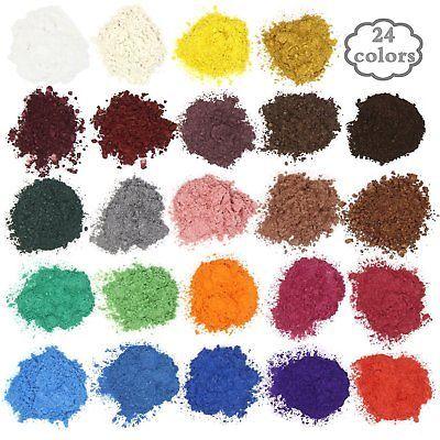 24 Colors Mica Powder Pigments Soap Blush/Candle Making Colorants Set Crafts NEW