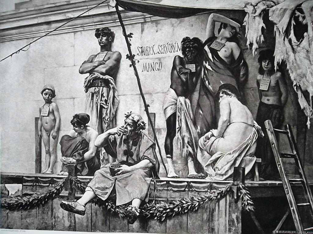 SLAVE MARKET in Ancient Rome Auction - 1888 Fine Antique Print