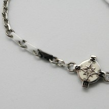 925 STERLING SILVER WIND ROSE COMPASS BRACELET WHITE CERAMIC, ZANCAN, ITALY MADE image 2