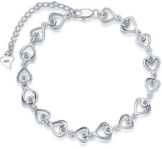 Hot 925 Sterling Silver Full of Heart Bracelet for Women Shining AAAAA C... - $30.78+