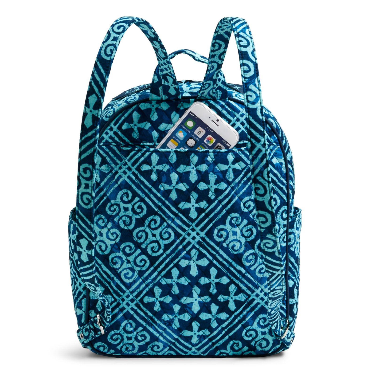 Vera Bradley Quilted Signature Cotton Leighton Backpack, Cuban Tiles
