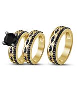 His Her Wedding Black Diamond Anniversary Ring Trio Set 14k Gold Over 92... - $123.99