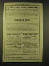 1918 Henry Holt and Company Ad - Professor Latimer's Progress - $14.99