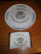 Lefton Happy Anniversary Plate & Candy Tray China No Year #5509 & #5510 - $23.27