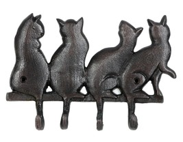 Kitty Cat Family Pet Quad Wall Hooks Aluminum - $36.00