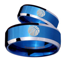 His Hers Basketball Beveled Edges Blue 2 Tone Tungsten Wedding Bands Rin... - $79.98