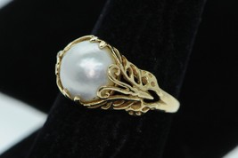 Franklin Mint 14K Yellow Gold 10.5mm+ Mabe Pearl Butterfly Ring - $485.00