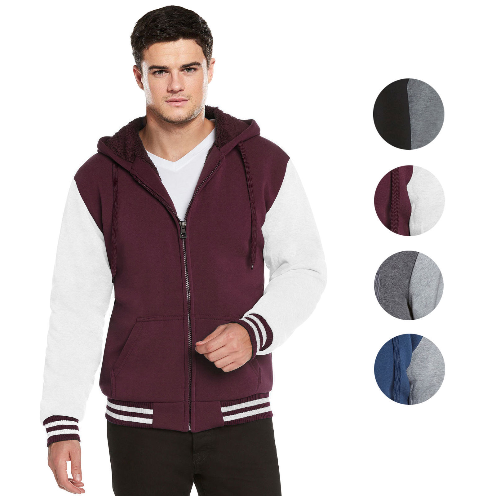 Men's Hooded Sherpa Fleece Lined Varsity Zip Up Two Tone Hoodie Jacket 2-TOON