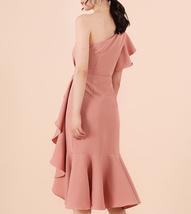 One Shoulder Midi Formal Dress Outfit Summer Wedding Bridesmaid Chiffon Dress  image 9