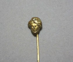 "Antique Hatpin Brass Arabian Figural Small Rhinestone 2.5"" - $27.20"