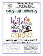 Witch Way To The Candy halloween cross stitch chart Cross Stitch Wonders - $5.00