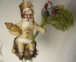 Vintage Inspired Spun Cotton Santa on Stump No.127B for your Chrismas Tree! - $50.99