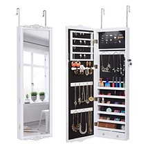 LANGRIA 10 LEDs Wall Door Mounted Jewelry Cabinet Lockable Jewelry Armoi... - $151.08