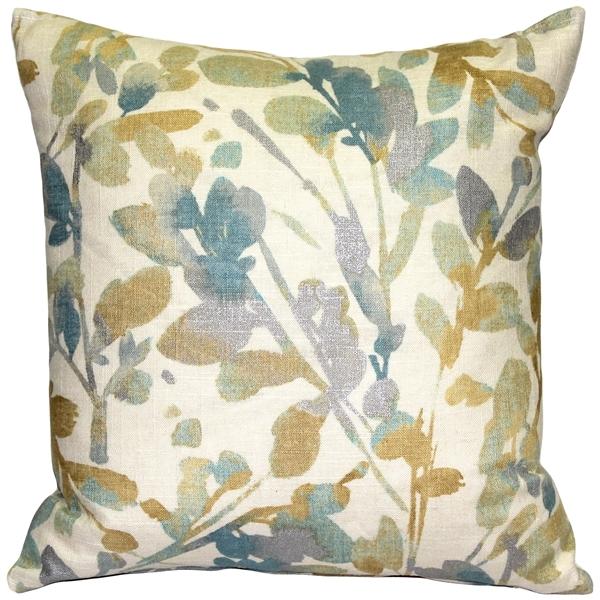 Pillow Decor - Linen Leaf Marine Throw Pillow 20x20