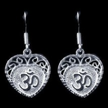 NICE New Sterling Silver Hindu Love Om Heart Aum Earrings - $26.57