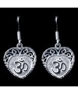 NICE New Sterling Silver Hindu Love Om Heart Aum Earrings - $26.57