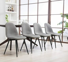 Roundhill Furniture Lassen Modern Fabric Dining Chairs Set of 4 Grey - $177.21