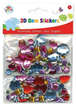 Kids Create 3D Gem Stickers Assorted Colours and Shapes Art Craft Home S... - $3.53