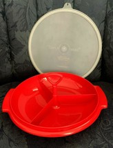 Vintage Red Tupperware Suzette Divided Relish Dish #608 & Red Handle W/ ... - $8.86
