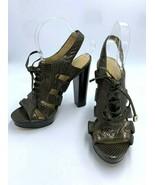 Coach Moreen 7.5 Copper Bronze Snakeskin Lace Up High Heels Pumps - $27.99