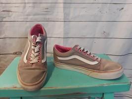 Vans Old Skool Skate Shoes Men's Sz 7 Women's Sz 8.5 Gray Pink Canvas Lo... - $27.76