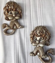 VTG 3-D 1970 Wall Hanging Lions Shaggy Cats Universal Statuary Corp. Set... - $19.99