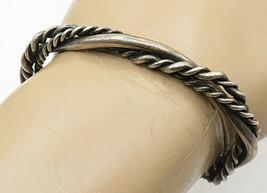 925 Sterling Silver - Vintage Rope Twist Intertwining Cuff Bracelet - B4563 - $70.14