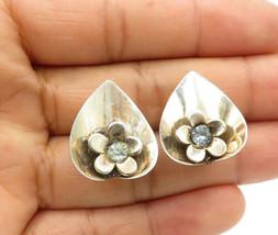 925 Sterling Silver - Vintage Topaz Love Heart Flower Non Pierce Earring... - $27.24