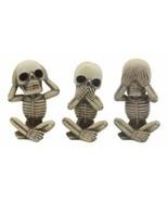 Gothic Alchemy Whimsical See Hear Speak No Evil Baby Skeletons Statue Se... - $25.99