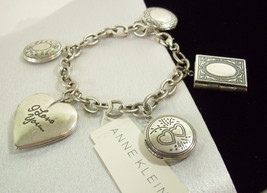 ANNE KLEIN LOCKET CHARM BRACELET SILVER TONE PLATE EMBOSSED BOOK W/TAG G... - $32.66
