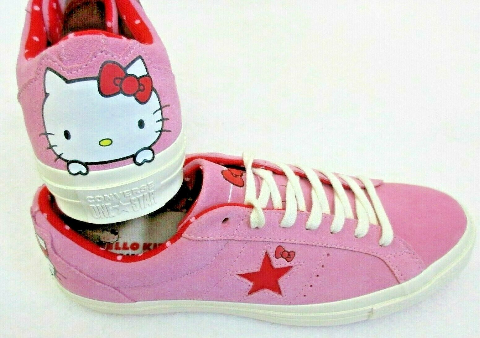 Converse One Star Ox Mens Hello Kitty Pink Prism Red Suede Shoes Size 10 New  image 2