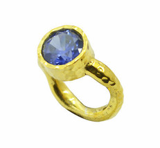 charming Blue Shappire CZ Gold Plated Blue Ring genuine handmade US gift - $12.68